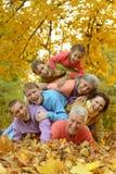 Porträt einer großen Familie, die Spaß hat stockfotos