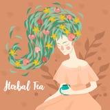 Porträt einer hübschen Frau, die eine Schale des Kräutertee-Vektorbildes trinkt stock abbildung