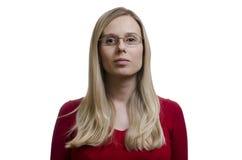 Tragende Gläser der Frau auf weißem Hintergrund Stockfoto