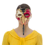 Porträt einer jungen Frau mit einer langen Nasen-Maske Lizenzfreies Stockfoto