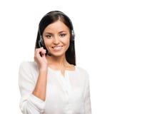 Porträt einer jungen Geschäftsfrau auf Weiß Lizenzfreies Stockfoto