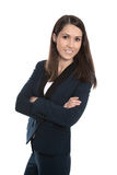 Porträt einer jungen lächelnden Geschäftsfrau lokalisiert auf Weiß lizenzfreie stockfotos