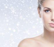 Porträt einer jungen nackten Frau auf einem Schneehintergrund Lizenzfreies Stockbild