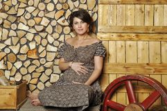 Porträt einer jungen schwangeren Frau in der ländlichen Art Stockfotos