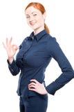 Porträt einer lächelnden schönen Geschäftsfrau lokalisiert Stockbild