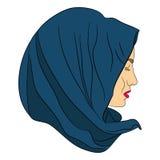 Porträt einer moslemischen Frau in einem Kopftuch Stockbilder