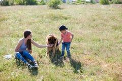 Porträt einer Mutter mit einem jungen Sohn und einem Hund stockbild