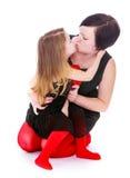 Porträt einer Mutter und der Tochter stockbilder