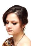 Porträt einer Nahaufnahme des jungen Mädchens stockfotografie