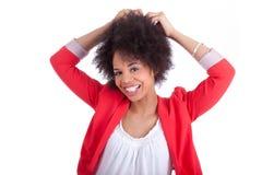 Porträt einer schönen Afroamerikanerfrau Lizenzfreie Stockfotografie