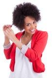 Porträt einer schönen Afroamerikanerfrau Stockbild