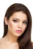 Porträt einer schönen Brunettefrau Stockbild