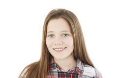 Porträt einer schönen Jugendlichen mit grünen Augen stockbild
