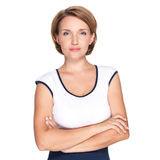 Porträt einer schönen jungen erwachsenen weißen ernsten Frau lizenzfreies stockbild