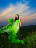 Porträt einer schönen jungen Frau auf Hintergrund des Sonnenuntergangs Stockbild
