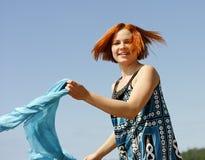 Porträt einer schönen jungen Frau draußen Stockfotos