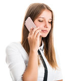 Porträt einer schönen jungen Geschäftsfrau mit einem Handy Lizenzfreies Stockbild