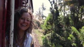 Porträt einer schönen netten Frau, welche die Zugreise genießt stock footage