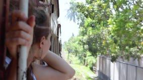Porträt einer schönen netten Frau, welche die Zugreise genießt stock video footage