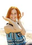 Porträt einer schönen rothaarigen jungen Frau Lizenzfreies Stockbild