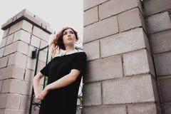 Porträt einer Schönheit mit dem dunkelroten Haar Lizenzfreie Stockbilder