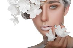 Porträt einer Schönheit mit einem Schneemake-up lizenzfreies stockbild