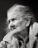 Porträt einer sehr alten geknitterten Frau Lizenzfreies Stockbild