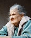 Porträt einer sehr alten geknitterten Frau Stockbild