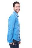 Porträt eines attraktiven jungen kaukasischen Mannlächelns Stockfotos