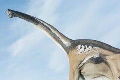 Porträt eines Brontosaurus über blauem Himmel Lizenzfreies Stockbild