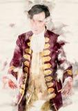 Porträt eines Butlers in einer historischen alten Robe lizenzfreie abbildung