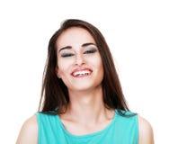 Porträt eines Frauenlachens lizenzfreie stockbilder
