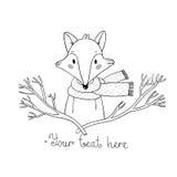 Porträt eines Fuchses in einem Schal und in den Niederlassungen Lizenzfreies Stockbild