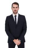 Porträt eines Geschäftsmannes mit seinen Händen verbunden Lizenzfreies Stockfoto