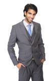 Porträt eines glücklichen jungen Geschäftsmannlächelns Lizenzfreies Stockbild