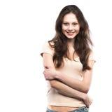 Porträt eines glücklichen Lächelns des jungen Mädchens lizenzfreie stockbilder