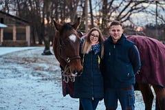 Porträt eines glücklichen Paars nahe zu einem braunen Pferd auf der Ranch an einem Wintertag stockbilder