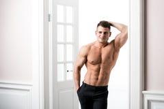 Porträt eines gut gebaut hemdlosen muskulösen männlichen Modells gegen hellen Hintergrund Lizenzfreies Stockfoto