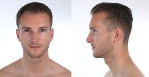 Porträt eines gutaussehenden Mannes, des Profils und des Gesichtes Schaffung eines virtuellen Charakters 3D oder des Avataras Stockbilder