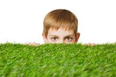 Porträt eines Jungen, der heraus durch Gras lugt Lizenzfreies Stockbild