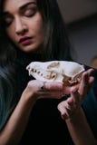 Porträt eines jungen Mädchens, das einen mysteriösen Schädel in den Händen eines Fuchses hält Gemaltes langes Haar Stockfotos