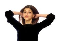 Porträt eines jungen Mädchens mit dem dunklen Haar Lizenzfreies Stockbild