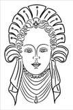 Porträt eines jungen Mädchens mit einer alten Frisur stock abbildung
