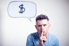 Porträt eines jungen Mannes mit einem Spracheblasendollar signe über h lizenzfreies stockfoto