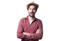 Porträt eines jungen schönen Mannes überrascht Lizenzfreies Stockfoto