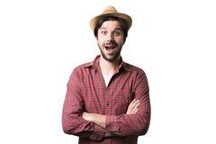 Porträt eines jungen schönen Mannes überrascht Lizenzfreie Stockfotografie