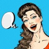 Porträt eines jungen Schönheit Gesichtes mit dem langen Haar komisch mit Sprache-Blase, Knall Art Style lizenzfreie abbildung