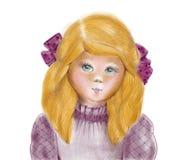 Porträt eines kleinen Ingwermädchens gezeichnet durch Bleistift, eigenhändig Lizenzfreie Stockfotografie