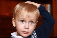 Porträt eines kleinen Jungen in einer Strickjacke Stockbild
