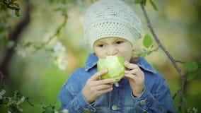 Porträt eines kleinen Mädchens, das grünes Apple im Park isst stock video footage